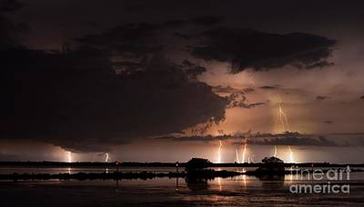 Lightning Photograph - Low Tide With High Energy by Quinn Sedam