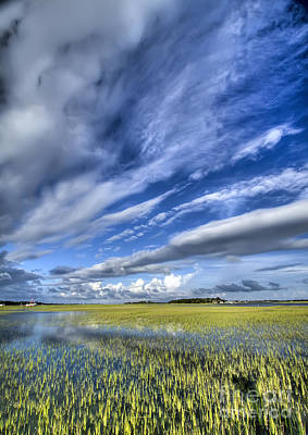 Lowcountry Flood Tide And Clouds Print by Dustin K Ryan