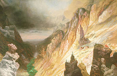 Canyon Painting - Lower Falls, Grand Canyon Of The Yellowstone River by Charles H Chapin