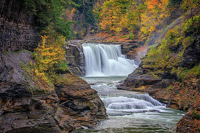Finger Lakes Photograph - Lower Falls In Autumn by Rick Berk