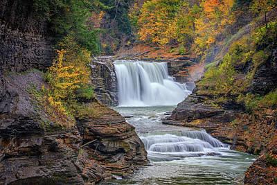 Lower Falls In Autumn Print by Rick Berk