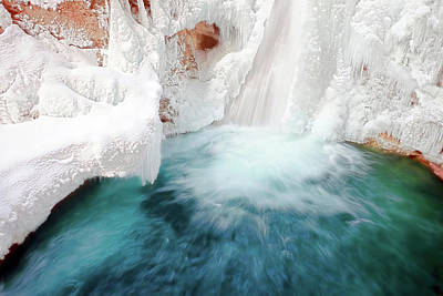 Mountain Photograph - Lower Falls Johnston Canyon 2 by Carol Cottrell