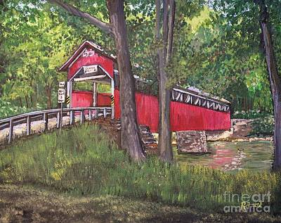 Covered Bridge Painting - Lower Humbert Covered Bridge  by Reb Frost