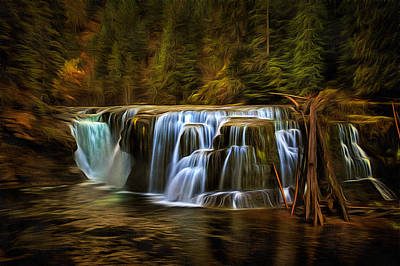 Rural Digital Art - Lower Lewis River Falls In Autumn by Mark Kiver