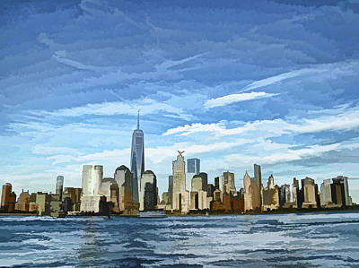 Lower Manhattan Featuring The Freedom Tower - Photopainting Print by Allen Beatty