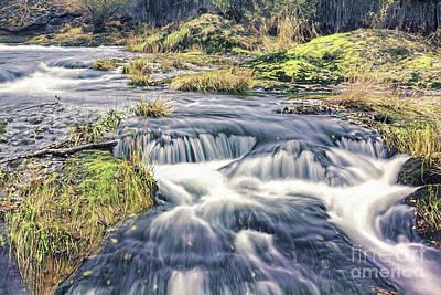Green Photograph - Lower Tumwater Falls by Jean OKeeffe Macro Abundance Art