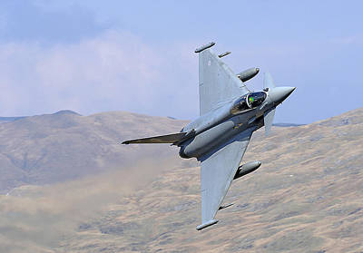 Lowflying Typhoon In The Welsh Hills 01 Print by Barry Culling