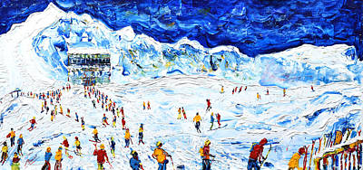 Snowboarder Painting - Lowry On The Pistes Tignes by Pete Caswell