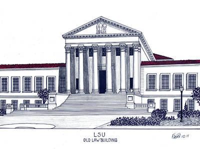 Louisiana State University Mixed Media - Lsu Old Law Building by Frederic Kohli