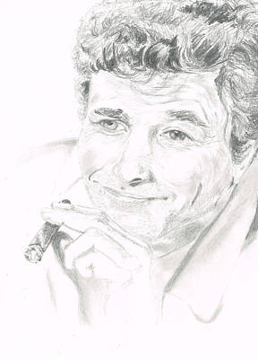 Peter Falk Drawing - Lt. Columbo by Andrew Gillette