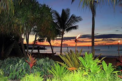 Luau Sunset Maui Print by Pierre Leclerc Photography