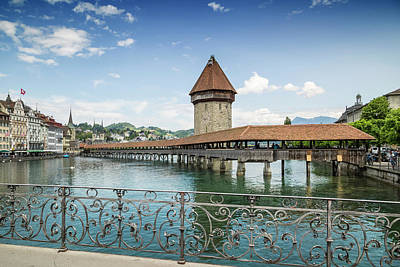 Lucerne Photograph - Lucerne Chapel Bridge And Water Tower by Melanie Viola