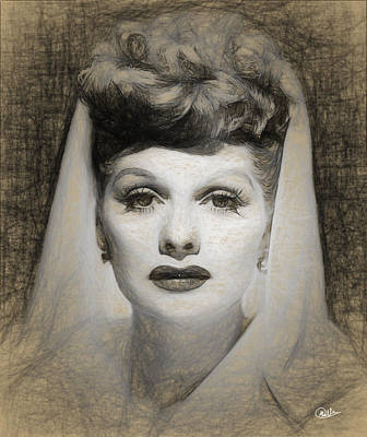 Lucille Drawing - Lucille Ball Draw by Quim Abella