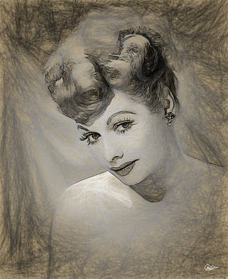 Oscar Drawing - Lucille Ball Pencil Draw by Quim Abella