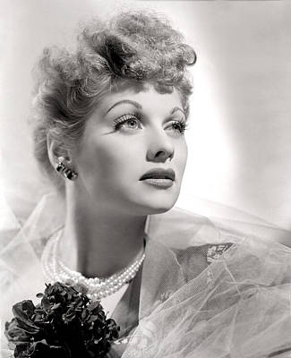Photograph - Lucille Ball Portrait With Gauze, 1940s by Everett