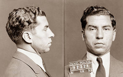 Gangster Photograph - Lucky Luciano Mugshot by War Is Hell Store