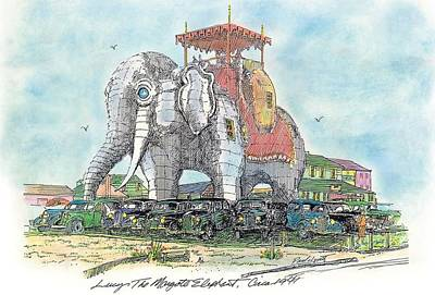 Historic Site Drawing - Lucy The  Elephant Circa 1940 by Paul Lovett
