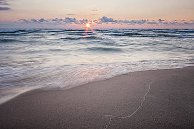 Ludington Beach Sunset Print by Adam Romanowicz