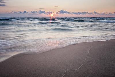 Evening Photograph - Ludington Beach Sunset by Adam Romanowicz