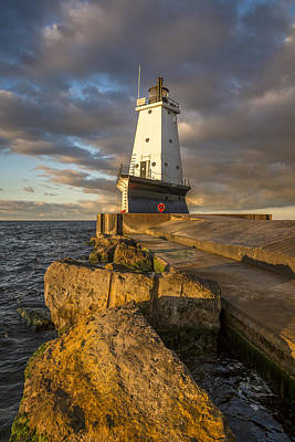 Ludington North Breakwater Lighthouse At Sunrise Print by Adam Romanowicz