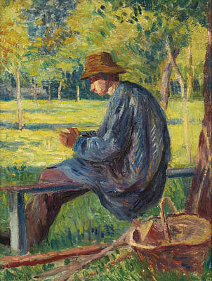 Ludovic Rodo Pissarro In The Garden Of His Father In Eragny Print by Maximilien Luce