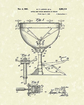 Drum Drawing - Ludwig Drums 1941 Patent Art by Prior Art Design