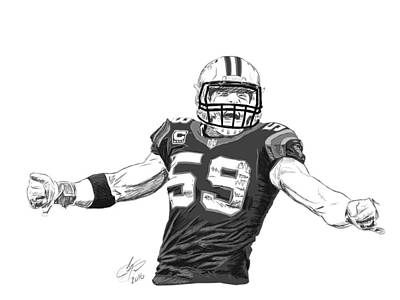 Panther Drawing - Luke Kuechly  by Johnathan Horne