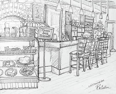 Bakery Drawing - Lulus's Chocolate Bar by Rachel Cotton