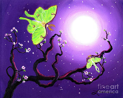Visionary Painting - Luna Moths In Moonlight by Laura Iverson