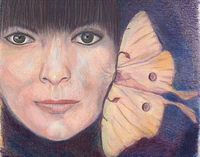 Luna Moth Drawing - Lunamoth by Karen Stitt