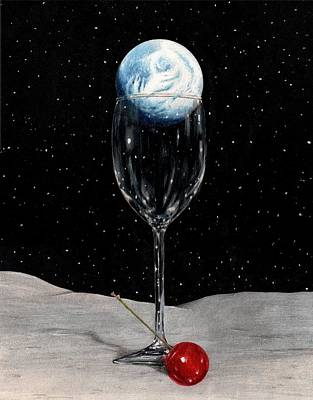 Glass Art Drawing - Lunar Cocktail by Bruce Lennon