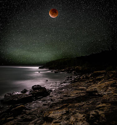 Lake Photograph - Lunar Eclipse Over Great Head by Brent L Ander
