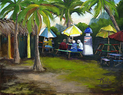 Docking Painting - Lunch At The Nav A Gator Grill by Kathy Przepadlo