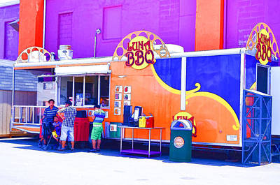 Hamburger Painting - Lunch Bbq Food Truck by Lanjee Chee