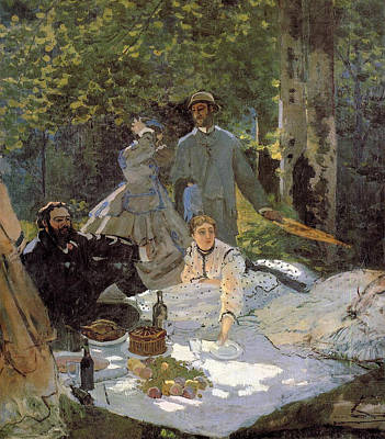 Meal Painting - Luncheon On The Grass, Centre Panel by Claude Monet