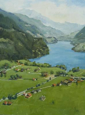 Heather Burton Painting - Lungern Switzerland by Heather Burton