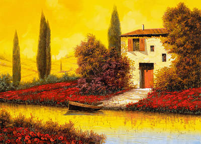 Yellow Painting - Lungo Il Fiume Tra I Papaveri by Guido Borelli