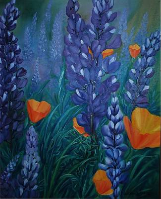 Ca Poppies Painting - Lupines And Poppy's by Lorraine Souza Wilcox