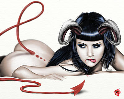 Brunette Drawing - Lure Of La'mia by Pete Tapang