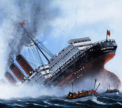 World War One Painting - Lusitania by Mike Tregenza