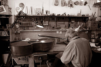 Double Bass Photograph - Luthier 1c by Andrew Fare