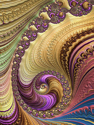 Abstract Digital Digital Art - Luxe Colorful Fractal Spiral by Matthias Hauser