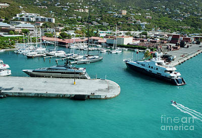 Dock Photograph - Luxury Yacht Entering The Marina At St.thomas, Us Virgin Islands by Dani Prints and Images