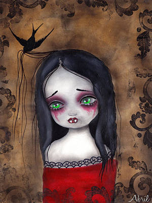 Tattoo Flash Painting - Luzie by  Abril Andrade Griffith