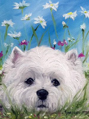 Dog Painting - Lying Low by Mary Sparrow