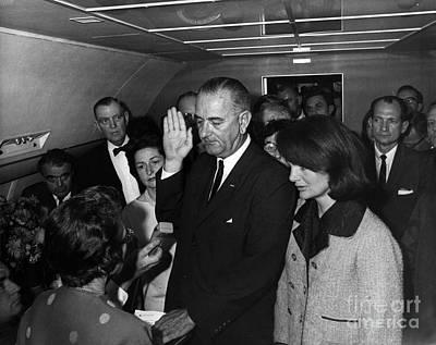Lyndon B. Johnson Sworn Print by Science Source