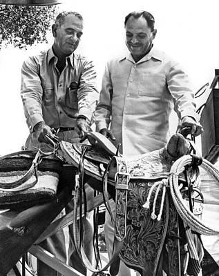 Lyndon Photograph - Lyndon Johnson Presents Saddle by Underwood Archives
