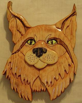 Intarsia Sculpture - Lynx by Russell Ellingsworth