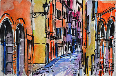 Rue Painting - Lyon Cityscape - Street Scene #01 - Rue Saint Georges by Mona Edulesco
