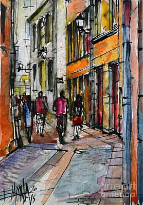 Old Street Painting - Lyon Cityscape - Street Scene #02 - Rue De Gadagne by Mona Edulesco